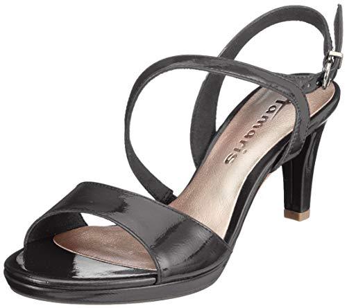 Tamaris 1-1-28319-22, Sandali con Cinturino alla Caviglia Donna, Nero (Black Patent 18), 39 EU