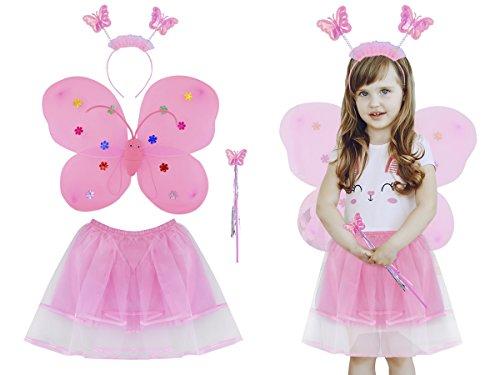 (Iso Trade Kinder Schmetterling kostüm Tütü Elfenflügel Fee Mädchen Ballett Kleid #5335)