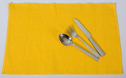 Edle Baumwolle Platzmatten für 4 oder 6 Personen in verschiedenen Farben). XXL Tischset ca. 48x33cm groß und waschbar. Moderne Designer Baumwolle Tischmatten bzw. Tischunterlagen als tolles Platzset für Ihr Esszimmer (6 Stück, Gelb)