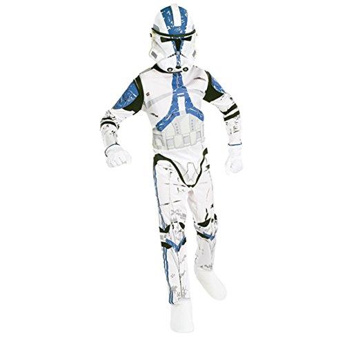 Amakando Clone Trooper Kostümset Klonkrieger Kinderkostüm Set M 128 cm Lizenzartikel Clonetrooper Star Wars Faschingskostüm Outfit Mottoparty (Clone Trooper Outfit)