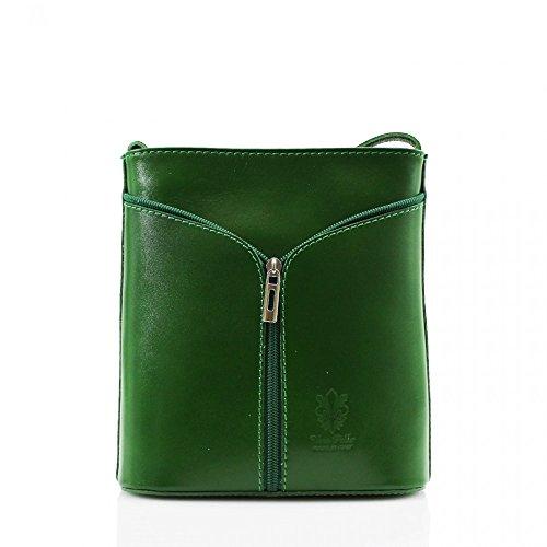 Da donna Fashion Designer piccola borsa a tracolla in pelle italiana di qualità cwv0026 Verde H20cm x W18cm x D7cm