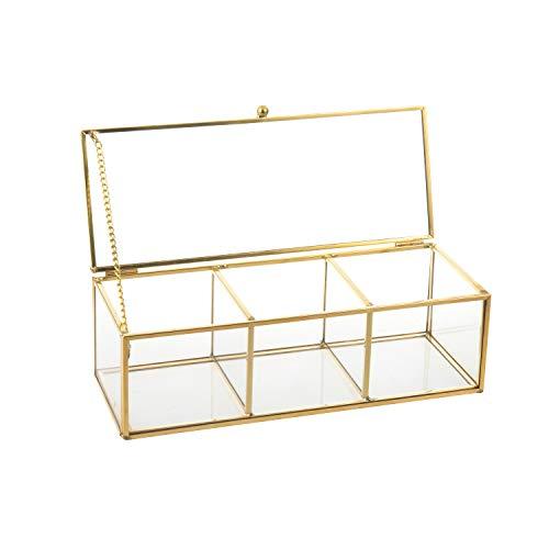 Feyarl Schmuckschatulle mit Klappdeckel, Glas Terrarium Box für Ringe und Ohrringe Dekorative Box Glas Box(Gold) (Style B)