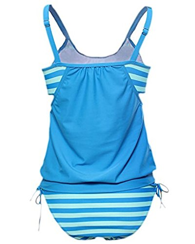 Toaho Vintage Retro Bikini Set Swimsuits Damen Monikini Gestreift Sport Badeanzug Bademode Swimwear Große Größen Oberweite Bleu