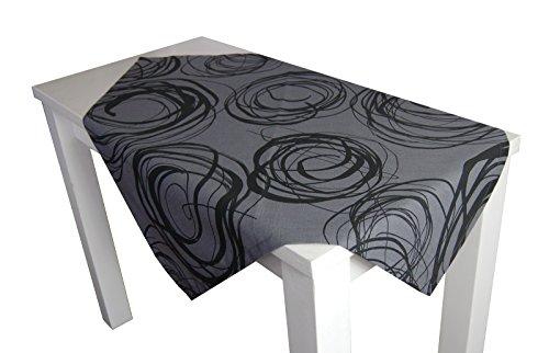 beties Mystik Mitteldecke ca. 80x80 cm abstraktes Kringel-Design in schwarz auf dunklem Background in 100{fa32b06ffaeffed865abaedc7b9b8add13cfc81b9fa1cc7b2a0b5966e13d2478} Baumwolle Platin Schwarz