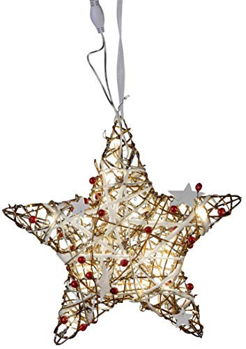 dekojohnson LED Fensterdeko Weihnachten Metall-Weihnachts-Stern mit Rattan-Geflecht 20-LED Lampen Fensterschmuck beleuchtet braun rot 30cm Gross