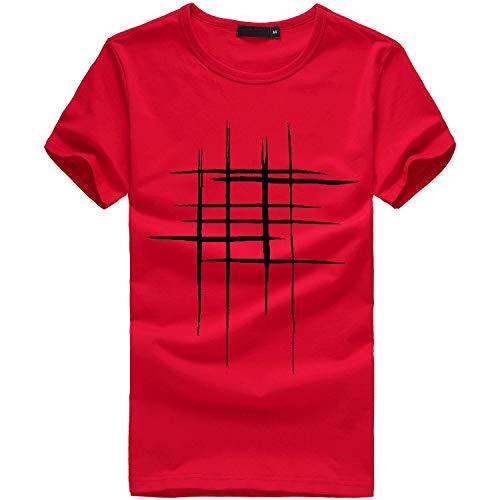feiXIANG T-Shirt - Printemps Été, Homme Mode Casual Simple Col Rond Lettre Imprimée Tee Shirt Sport Tops à Manches Courte Slim Fit Sport Pullover Chemisiers Blouse (Rouge,XL)