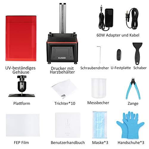 ELEGOO MARS UV LCD 3D Drucker mit 3,5 Zoll Smart Farbtouchscreen Offline-Drucken Druckbereich von 4.72″(L) x 2.68″(W) x 6.1″(H) (Schwarz) - 5