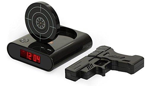 Digitalwecker mit Pistole und Zielscheibe - Schwarz 'Shooter' Design - Gadget Wecker inkl. Alarm...