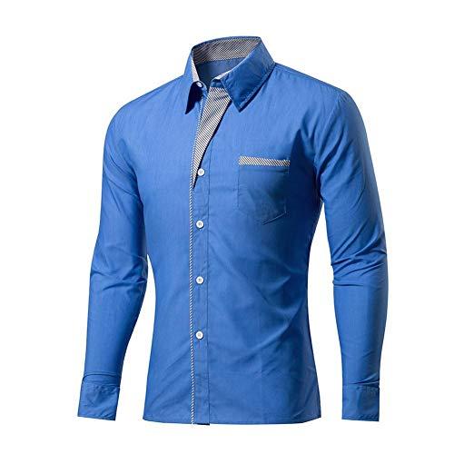 Dehots Herren Hemd Langarm Business Freizeit Slim Fit Für Männer Anzug Hochzeit Hemden Businesshemd Shirt Herbst Winter Große Größen, Blau, 4XL
