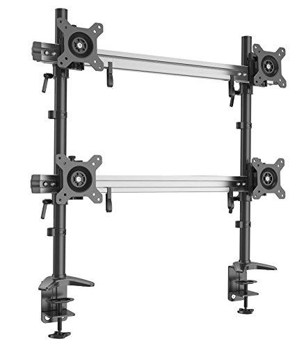 HFTEK 4-Fach-Monitorarm - Halterung Halter Tischhalterung für 4 Bildschirme von 15 bis 27 Zoll mit Tisch-Klemme - VESA 75/100 (MP240C-N)