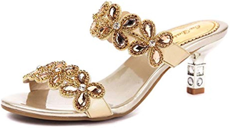 581762508 HBDLH Scarpe Scarpe Scarpe da Donna Cuoio Sandali Tacco 5 Cm di Altezza  Estate Mezzo Tacco