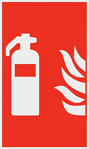 Metafranc Hinweisschild Symbol: Feuerlöscher - 250 x 150 mm / Beschilderung / Infoschild / Feuerlöscher / Erste-Hilfe-Kennzeichnung / Sicherheitsmarkierung / Gewerbekennzeichnung / 500040