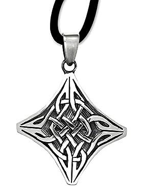 Anhänger Keltischer Knoten 925er Sterling Silber Schmuck Amulett Schutzamulett mit Lederhalsband 06