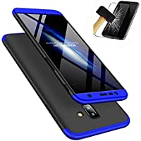 Samsung Galaxy J6 Plus Hülle + Panzerglas, LaiXin 360 Grad Handyhülle Ultra Dünn PC Plastik Anti-Kratzen Schutzhülle Schutz Case mit Displayschutzfolie für Samsung Galaxy J6 Plus 2018 - Blau/Schwarz