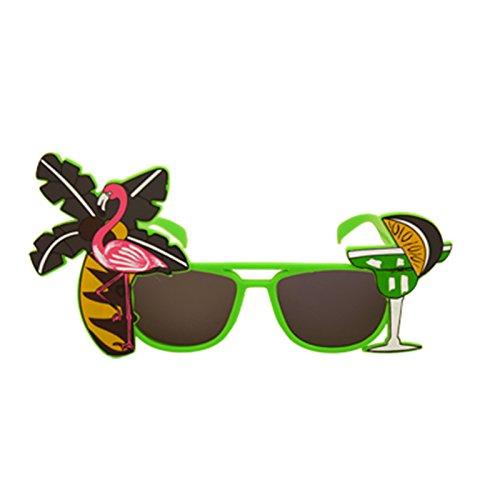 Adult Tropical Coloured Dark Lense Sunglasses Fancy Dress Accessory-Green