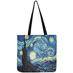 Einkaufstasche mit abstraktem Sternenhimmel mit Dorf, Ölgemälde, Segeltuch, Handtasche, Umhängetasche, Handtasche für Damen und Herren