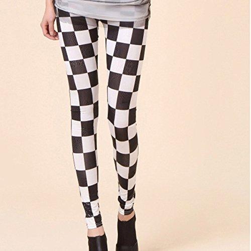 Add Health Leggings Steampunk Gothic Leder Latex Lace Spitze Destroy OS Leggings 068 Black / Weiß
