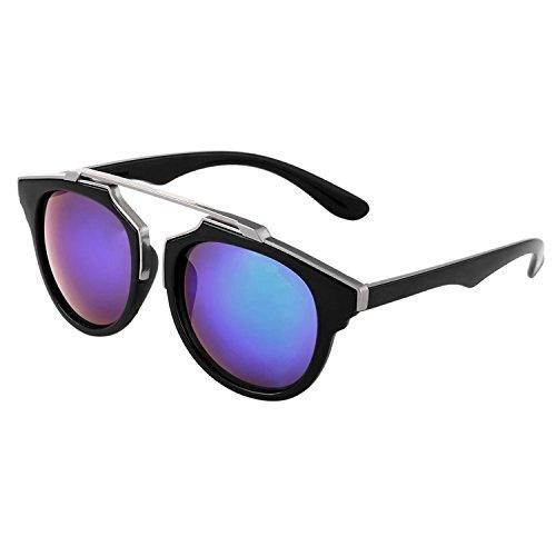 Silver Kartz Round Unisex Sunglasses(Wy-154|55|Blue)