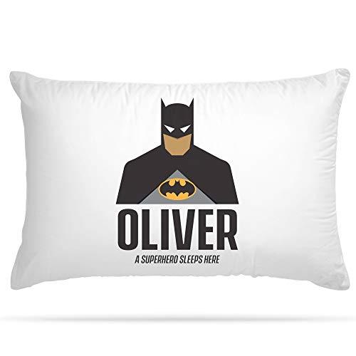 Taie d'oreiller personnalisable avec 15 super-héros différents - cadeau idéal pour un enfant - superbe décoration pour une chambre d'enfants , Polyester doux., batman, 29.5 x 19.5 Inch / 75 x 50 cm