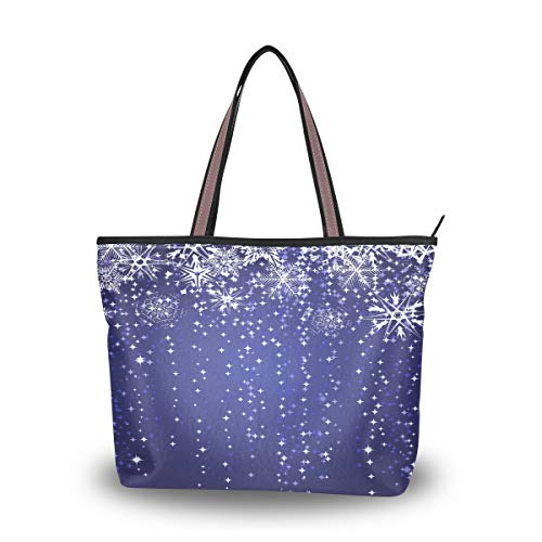 Emoya Tote Bag Winter Blue Nowflakes Top Handle Satchel Handtasche Handtasche Schultertasche Messenger Bag L, Mehrfarbig - multi - Größe: Large -