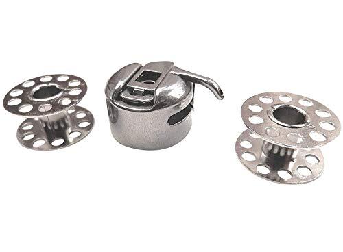 Spulenkapsel und 2 Metallspulen Spulen für Necchi 270/524/559 Nähmaschinen -