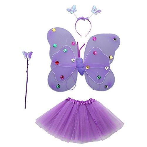 Kostüm Flügeln Schmetterlings Mädchen Plüsch - Fenteer 4pcs Mädchen Fee Kostüme mit Flügel Stirnband Stab Tutu Rock Set - Lila