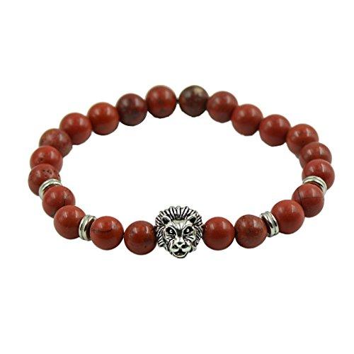 Art Und Weise Natürliche Rote Jaspis Tibetanisches Silber Leopard Kopf Spacer Perlenarmband
