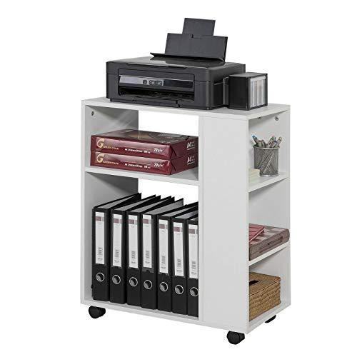 SoBuy® FBT68-W Druckertisch mit 7 Ablagen Rollcontainer Bürowagen Beistellwagen Aktenwagen weiß BHT ca: 60x75x35cm - Weiß Schreibtisch Schrank