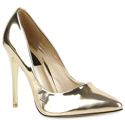 Spitze Damen Pumps Lack Stiletto High Heels Metallic Party Glitzer Abiball Hochzeit Schuhe 110134 Gold 38 Flandell Gold Stiletto Heel