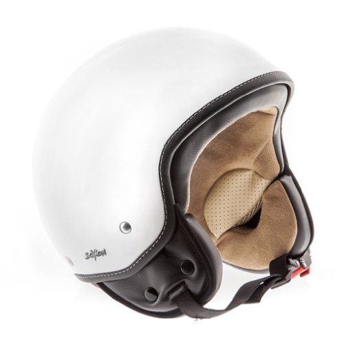 SOXON SP-301 Snow Motorrad-Helm Roller-Helm Jet-Helm Bobber Scooter-Helm Pilot Cruiser Vintage Mofa Chopper Helmet Biker Vespa-Helm Retro, ECE zertifiziert, inkl. Stofftragetasche, Weiß (Snow), XS (53-54cm)
