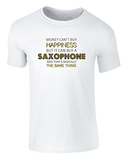 Brand88 - Money Can Buy A Saxophone, Erwachsene Gedrucktes T-Shirt Weiß