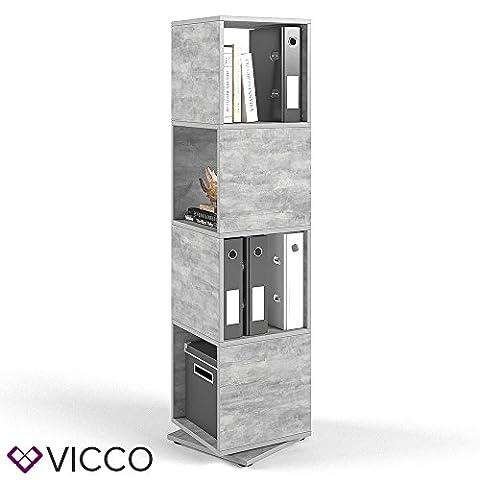 VICCO XXL Drehregal Regal Beton 145cm hoch Ordnerregal Standregal Bücherregal Büro