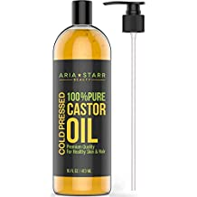 Aria Starr Castor Oil Cold Pressed - 16 FL OZ - BEST 100% Pure Hair