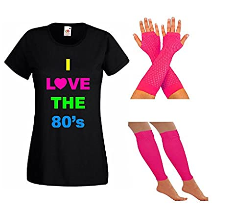 LADIES NEON 80S TSHIRT FANCY DRESS LEG WARMERS & FISHNET GLOVES - PARTY RAVE SUMMER FESTIVAL HEN PARTY NIGHT (18, Pink)