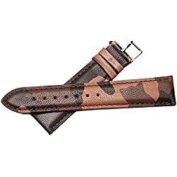 New Brown Camouflage Genuine Leather Watch Band Clasp Wristwatch Strap 22 mm