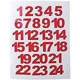 Zahlen Miniblings Sticker rot 24 Adventskalender Aufkleber Zahl 1-24 X-Mas XL 25mm