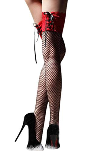 Zolimx Sheer Lace Top Strümpfe Strumpf Nets Stay Up (Rot)