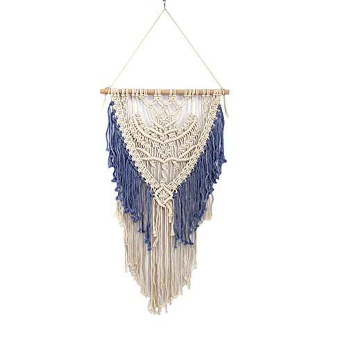 Maoran 1X Tapiz Tapicería de algodón Bohemio Atrapasueños con Flecos Inicio artesanía decoración Colgante de Pared joyería Creativa Borla decoración de la Boda Colgante 8 * 90cm