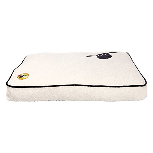 """Accogliente cuscino per cani in stile """"shaun the sheep"""", con superficie in peluche morbido arricciato e base antiscivolo, isola dal pavimento freddo e duro, rivestimento removibile e lavabile a 30°c."""