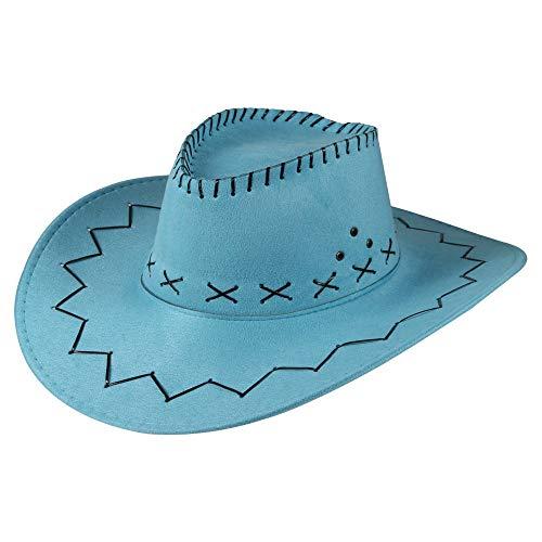 Cooler Cowboy Hut Sheriff Fasching Masken Perücke Maske Texas - Zick Zack Türkis
