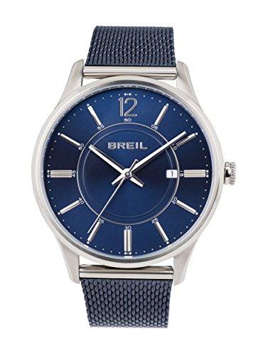 BREIL - Montre Homme Contempo - Cadran Bleu - Boîtier Acier 40.5 mm - Bracelet en Acier Bleu - Mouvement à Quartz Heure Uniquement