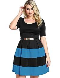 381a6cc38315 Nuovo da donna taglie forti nero   blu royal skater vestito da sera