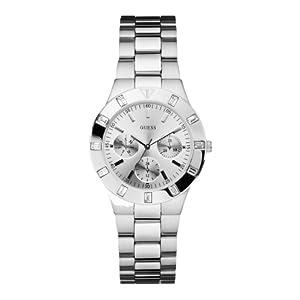 Reloj Guess W11610L1 de cuarzo para mujer con correa de acero inoxidable, color plateado de Guess