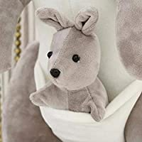 Naisidier Baby Plush Doll Toys Soothing Comforting Kangaroo Toy Animated Flappy the Kangaroo Mother with Baby Plush Toy for Kids Light Gray Christmas Toy Gift