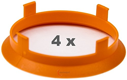 4 x Bague de Centrage 60.1 mm vers 58.1 mm Orange