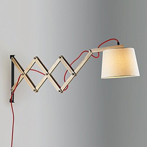 Hines Modern Style Holz Ausziehbare Wandlampen Wandbeleuchtung Lampe Mit  Trommel Tuch Schatten Und Mit Schalter Verwenden 1 E27 Glühbirne