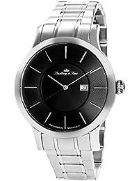 Lindberg & Sons LSSM301 - Reloj de pulsera con fecha analogico para hombre, de cuarzo, calibre suizo, acero inoxidable, plateado