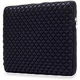 "OJOS 15-15.6 Inch Laptop Sleeve Case Bag Zipper Diamond Series For 15 Inch MacBook Pro/Retina,Neoprene Protective Slim Carrying Bag For Up To 15.6"" Ultrabook Chromebook Notebook Tablet-Black"