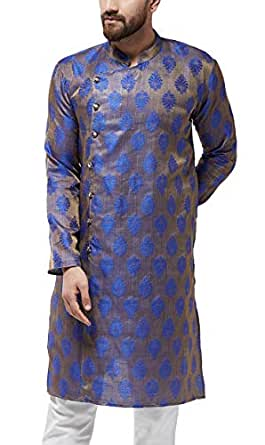 Sojanya (Since 1958, Men's Jacquard Silk Blue ONLY Long Kurta, Size: 36