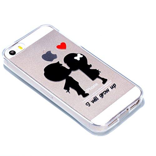 Cover iPhone 5 Custodia iPhone 5s Silicone iPhone SE Cover Anfire Morbido Flessibile Gel TPU Case per Apple iPhone 5/5s/SE (4.0 Pollici) Ultra Sottile Slim Clear Trasparente Copertura Ultra Leggera An Piccoli Amanti